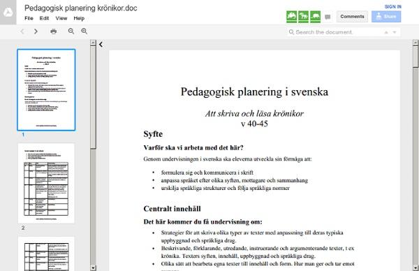 Pedagogisk planering krönikor.doc