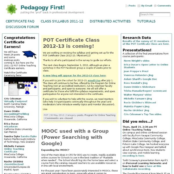 Pedagogy First!