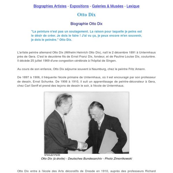 Otto Dix peintre - Biographie Otto Dix, oeuvres, tableaux Otto Dix, expositions et citations