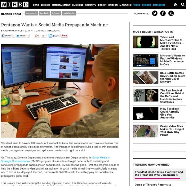 Pentagon Wants a Social Media Propaganda Machine