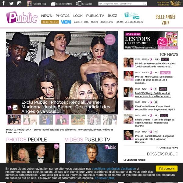 Public.fr, le mag 100% actu people. News people, photos, vidéos, looks des célébrités avec Public