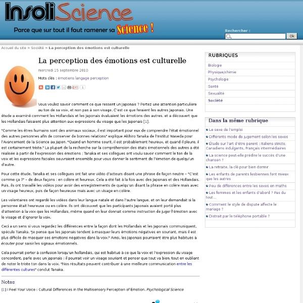 La perception des émotions est culturelle