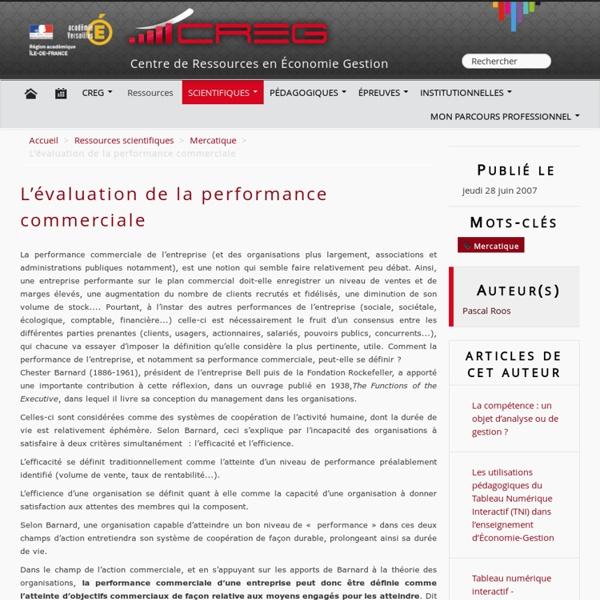 L'évaluation de la performance commerciale