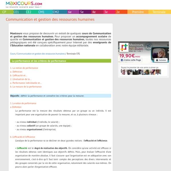 La performance et les critères de performance, Soutien scolaire, Cours Communication et gestion des ressources humaines, Maxicours