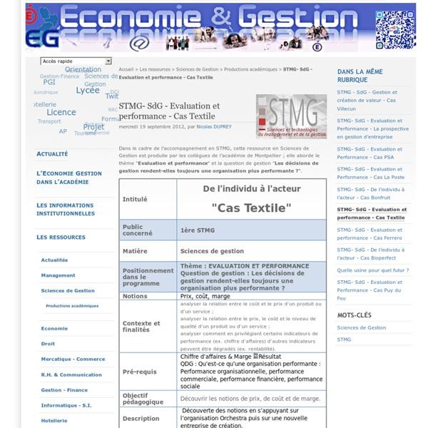 STMG- SdG - Evaluation et performance - Cas Textile