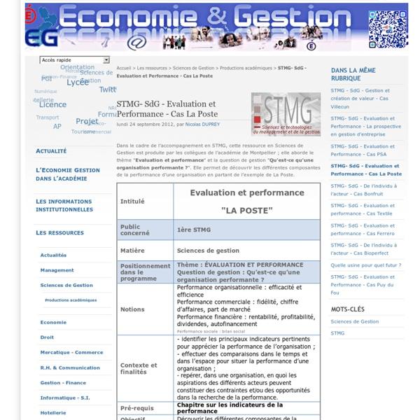 STMG- SdG - Evaluation et Performance - Cas La Poste
