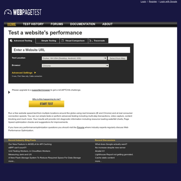 WebPagetest - Website Performance and Optimization Test