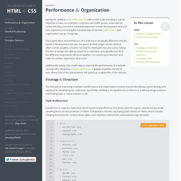 Performance & Organization - An Advanced Guide to HTML & CSS