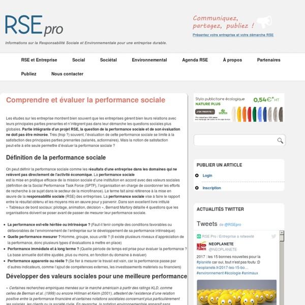 Définition performance sociale
