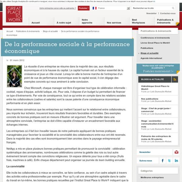 De la performance sociale à la performance économique