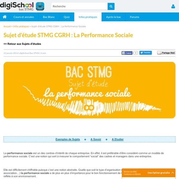 Sujet d'étude CGRH - La performance sociale - Bac STG