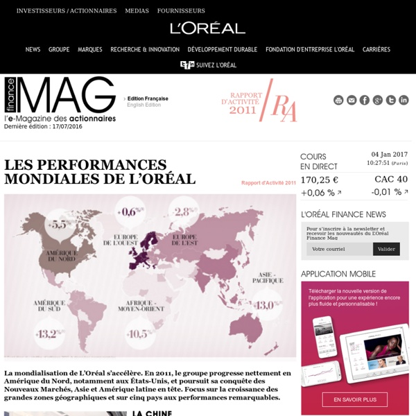 Les performances mondiales de L'Oréal