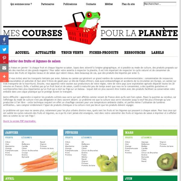Périodes de récolte et de consommation des légumes et fruits de saison en France / MesCoursesPourLaPlanète