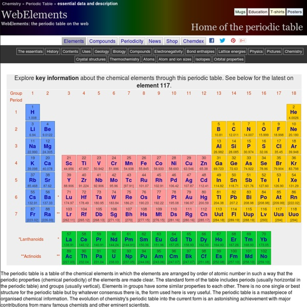 Periodic Table Of The Elements By Webelements Pearltrees