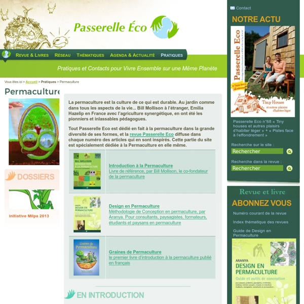 Permaculture - Passerelle Eco - Ecovillage Global et Permaculture