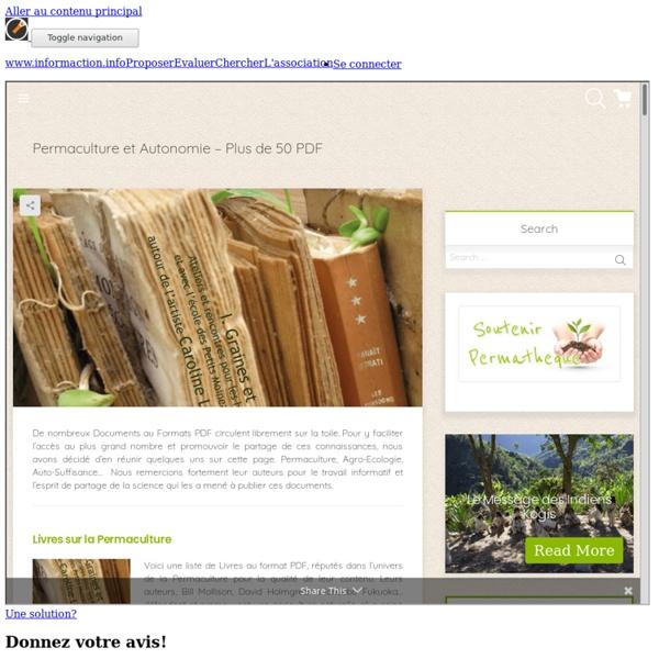 Permaculture et autonomie : Plus de 50 PDF