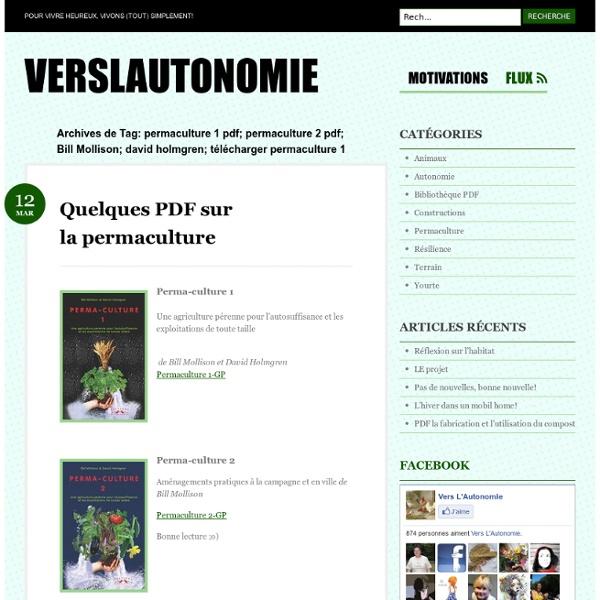 Permaculture 1 pdf; permaculture 2 pdf; Bill Mollison; david holmgren; télécharger permaculture 1