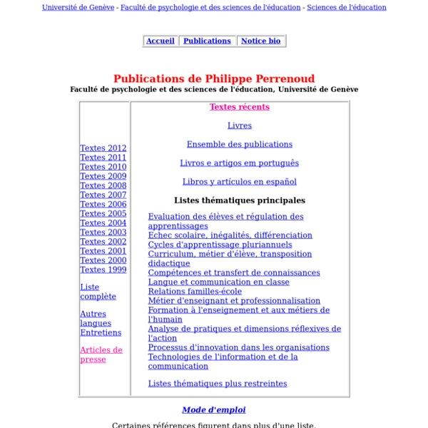 Philippe Perrenoud - Publications par thèmes