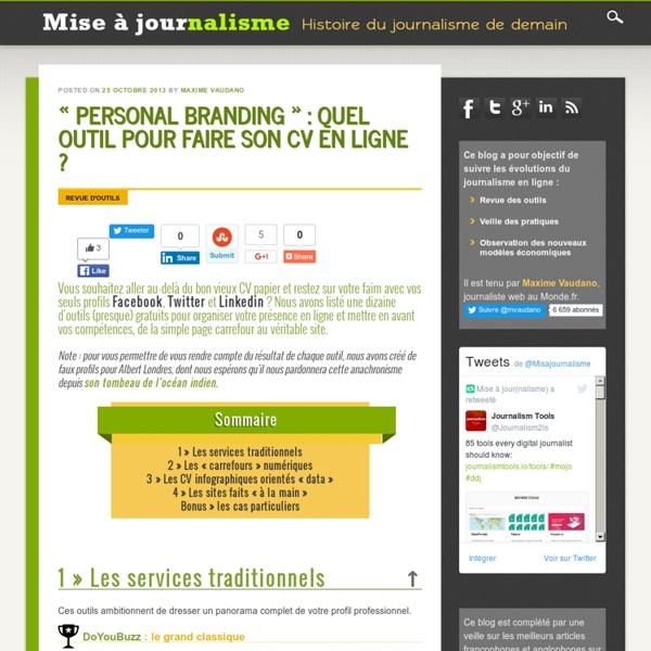 u00ab personal branding  u00bb   quel outil pour faire son cv en ligne