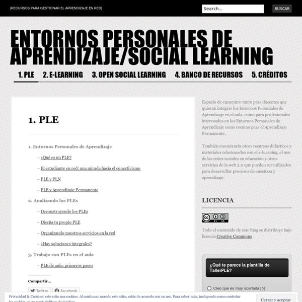 1.PLE « ENTORNOS PERSONALES DE APRENDIZAJE/SOCIAL LEARNING