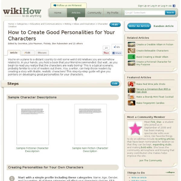 How to Create Good Personalities for Your Characters