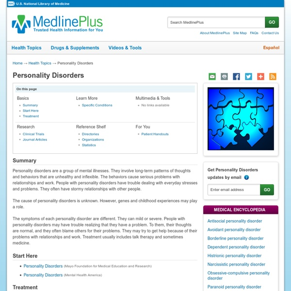 Personality Disorders: MedlinePlus