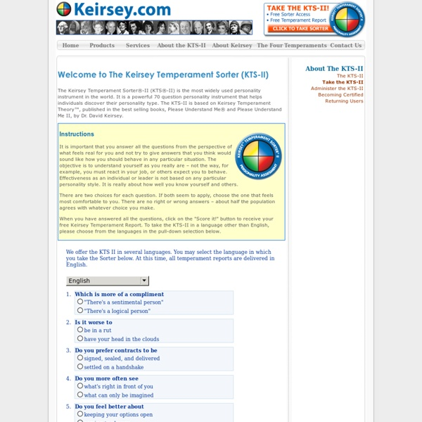 Personality Test - Keirsey.com *** Keirsey Temperament Sorter II