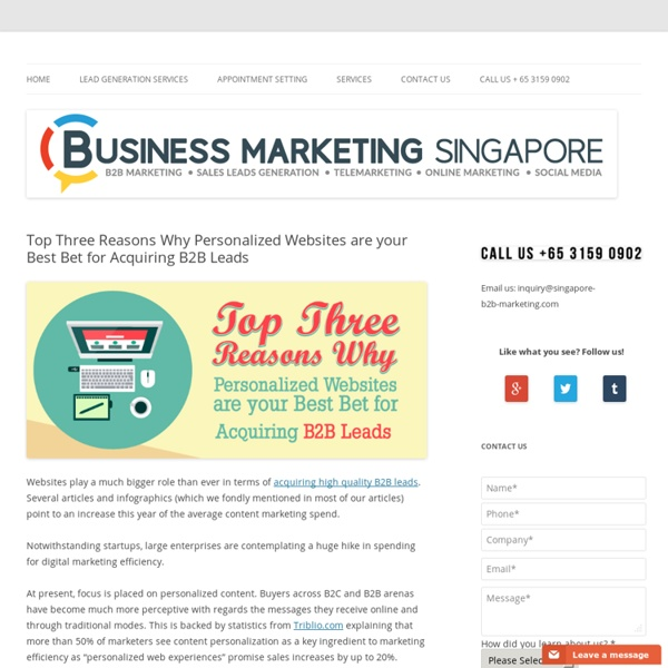 Top Three Reasons Why Personalized Websites are your Best Bet for Acquiring B2B Leads