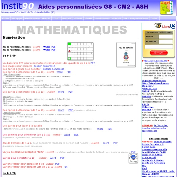 ASH , Aide personnalisée: Mathématiques
