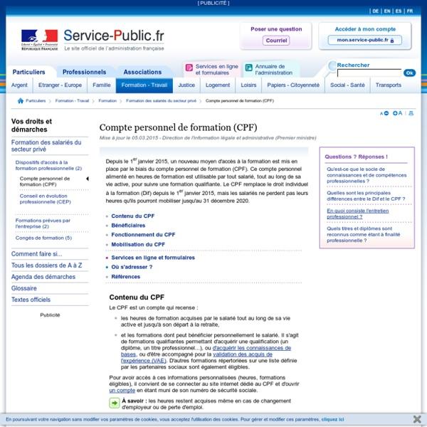Compte personnel de formation (CPF): caractéristiques