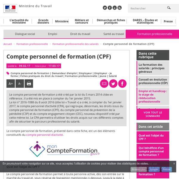 Compte personnel de formation (CPF) - Formation professionnelle des salariés