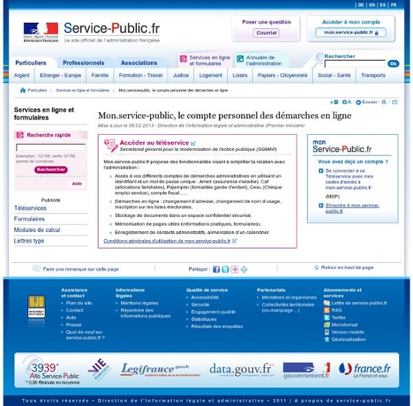 Mon.service-public, le compte personnel des démarches en ligne -