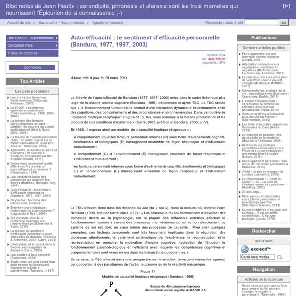 Auto-efficacité : le sentiment d'efficacité personnelle (Bandura, 1977, 1997, 2003