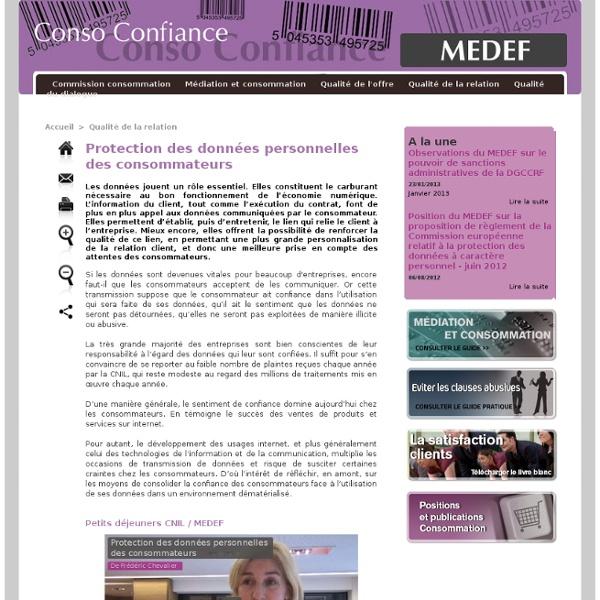 Protection des données personnelles des consommateurs