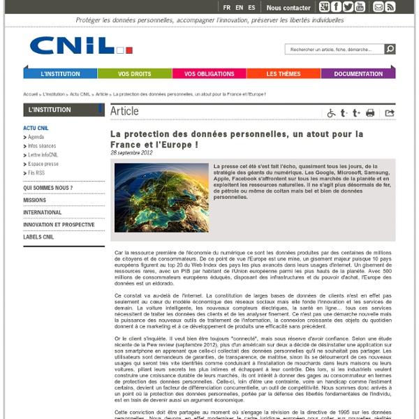 La protection des données personnelles, un atout pour la France et l'Europe !