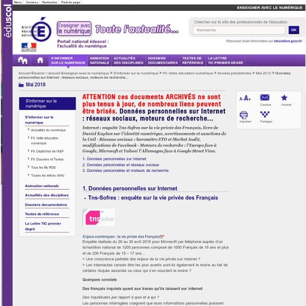 Données personnelles sur Internet : réseaux sociaux, moteurs de recherche...