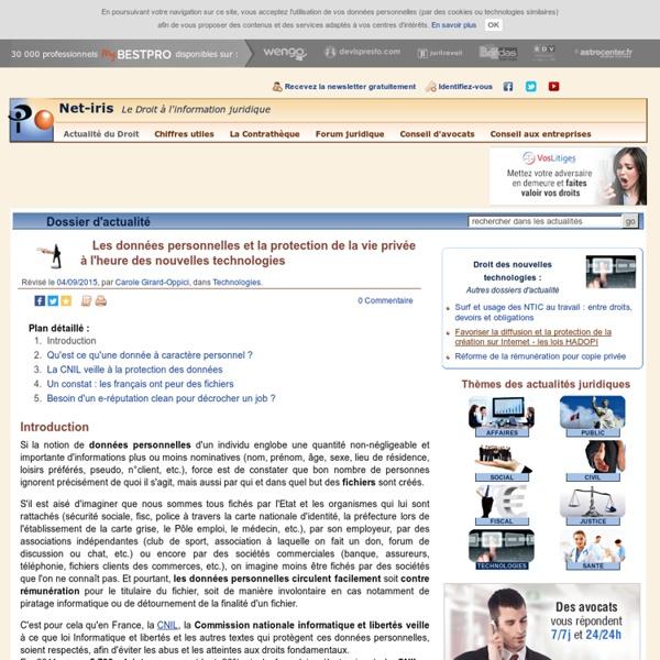 Les données personnelles et la protection de la vie privée à l'heure des nouvelles technologies (Dossier de mai 2012