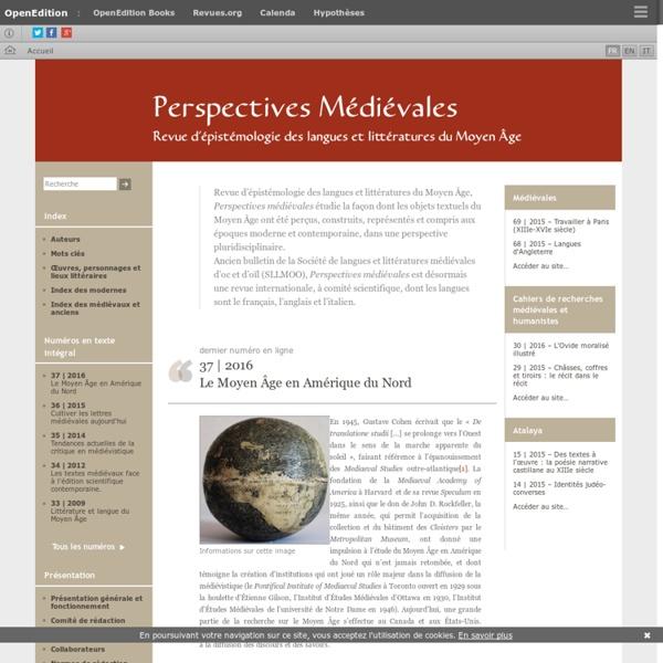 Perspectives médiévales - Revue d'épistémologie des langues et littératures du Moyen Âge