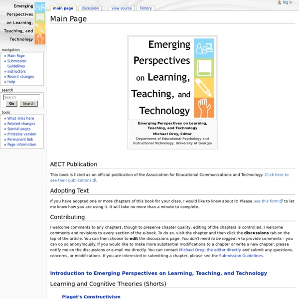 Emerging Perspectives on Learning, Teaching and Technology