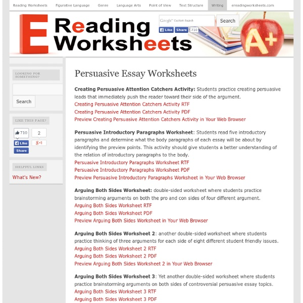 persuasive writing essay worksheet Persuasive speech is used to argue 'for' or 'against' a specific point the aim is to  start with a statement (which you either do or don't agree with) and then use.