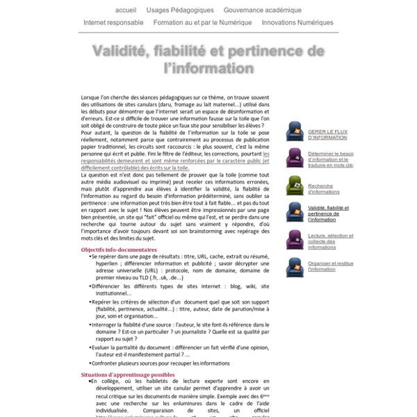 Validité, fiabilité et pertinence de l'information