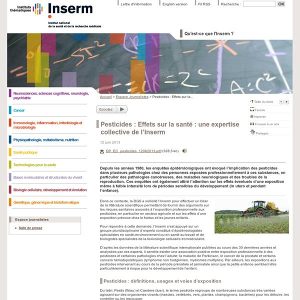Pesticides : Effets sur la santé : une expertise collective de l'Inserm