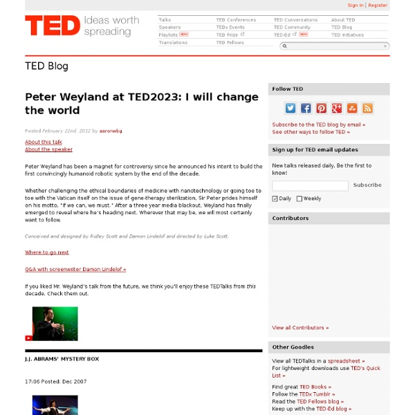 Peter Weyland at TED2023: I will change the world