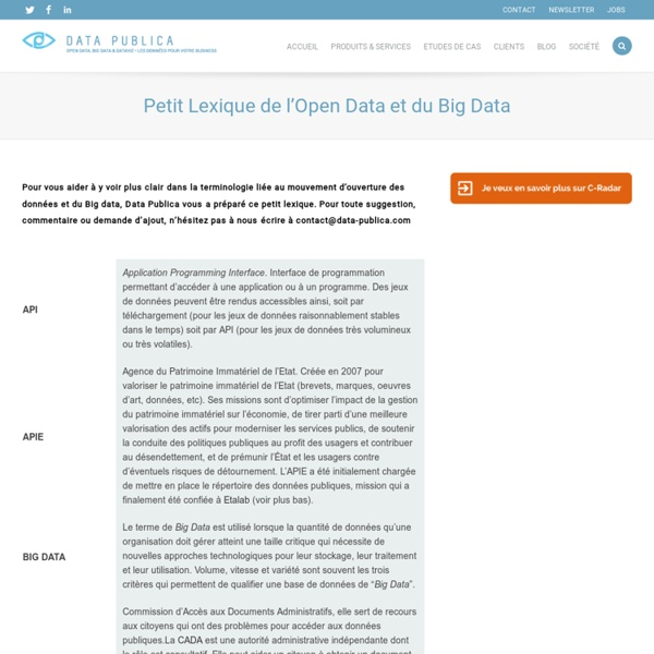 Petit Lexique de l'Open Data