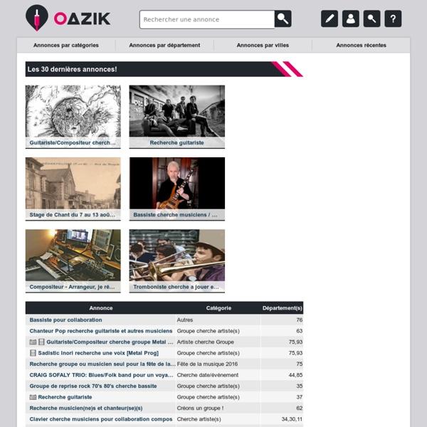 Petites annonces musicales - Oazik.com