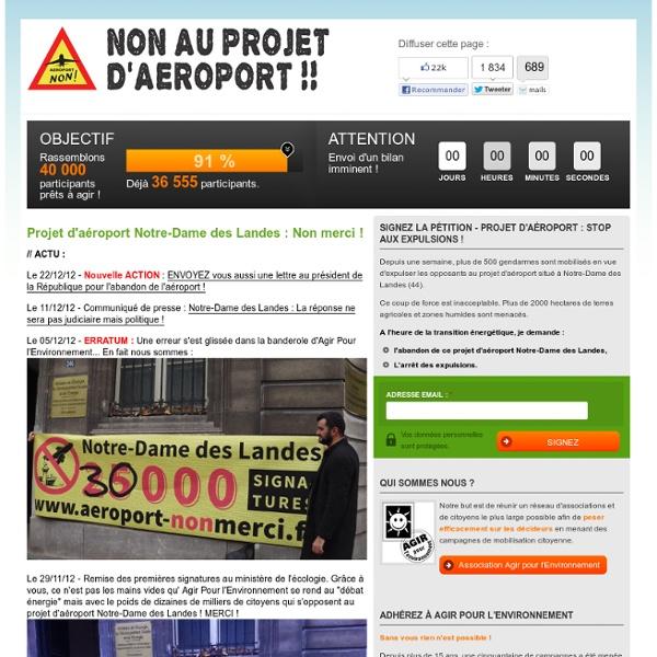 PETITION - Projet d'aéroport Notre-Dame des Landes : Non merci !