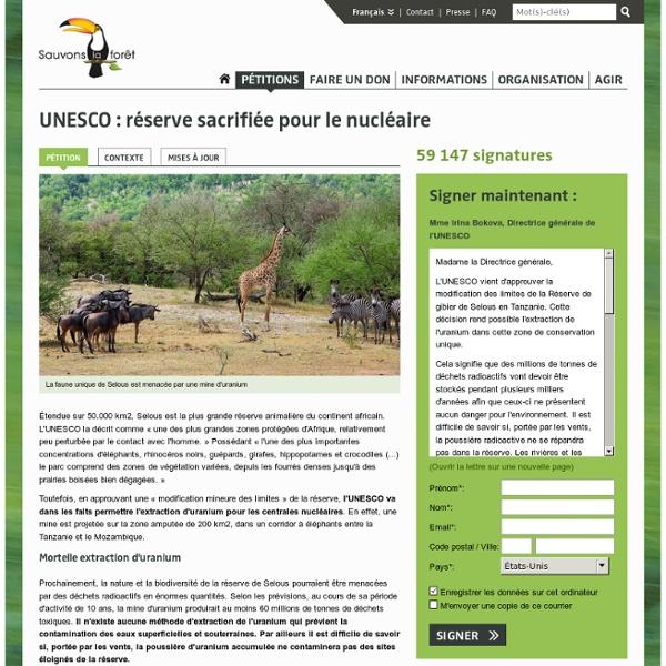 UNESCO : réserve sacrifiée pour le nucléaire