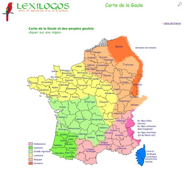 Carte de la Gaule & peuples gaulois LEXILOGOS