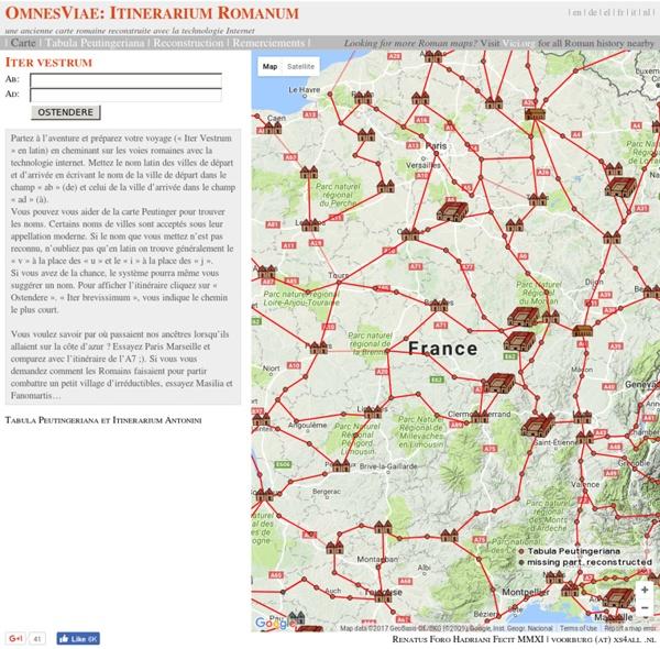 Omnes Viae: Tabula Peutingeriana - Itinerarium Romanum / Planificateur d'itinéraire