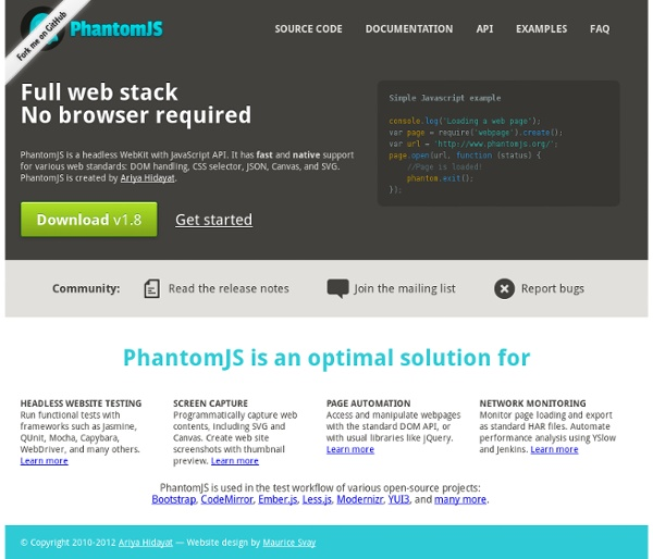 PhantomJS: Headless WebKit with JavaScript API